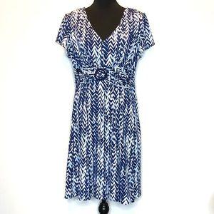Perceptions Blue & White Petite Slip On Dress.D131